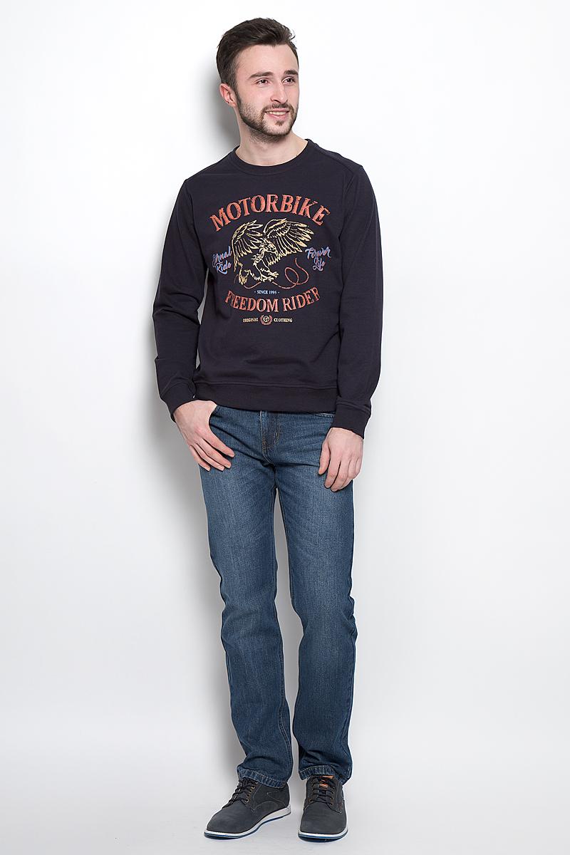 СвитшотSt-213/828-7120Стильный мужской свитшот Sela Casual Wear выполнен из хлопка и полиэстера. Модель с круглым вырезом горловины и длинными рукавами. Манжеты, горловина и низ изделия дополнены трикотажными резинками.