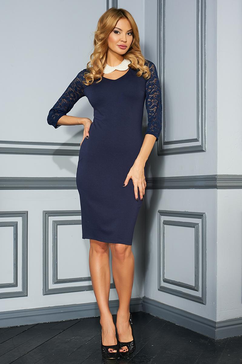 ПлатьеVV16-2839Стильное платье Vittoria Vicci изготовлено из полиэстера с добавлением вискозы и эластана. Модель-миди с круглым вырезом горловины и рукавами 3/4 застегивается на застежку-молнию, расположенную на спинке. Рукава выполнены из кружевного материала. Задняя часть модели дополнена разрезом.