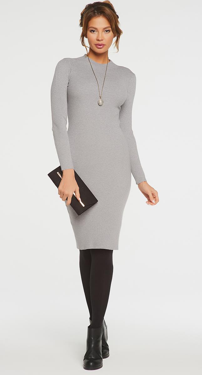 VV16-1752Платье Vittoria Vicci выполнено из хлопка с добавлением вискозы, полиамида и эластана. Вязаная модель средней длины с длинными рукавами имеет воротник-стойку. Платье превосходно тянется.