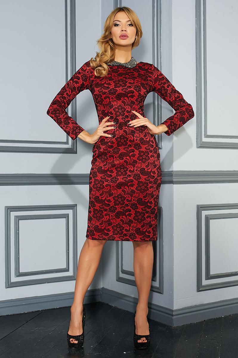 ПлатьеVV16-2853Платье Vittoria Vicci выполнено из полиэстера с добавлением вискозы и эластана. Модель средней длины с длинными рукавами имеет круглый вырез горловины. Платье застегивается на застежку-молнию на спинке. Изделие оформлено объемным кружевным узором, который имеет бархатистую текстуру.