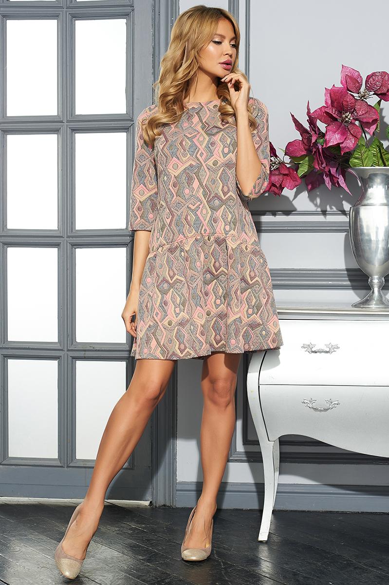 ПлатьеVV16-2801-1Стильное платье Vittoria Vicci изготовлено из хлопка и полиэстера с добавлением эластана. Модель-миди свободного кроя с круглым вырезом горловины и рукавами 3/4 оформлена оригинальным принтом.