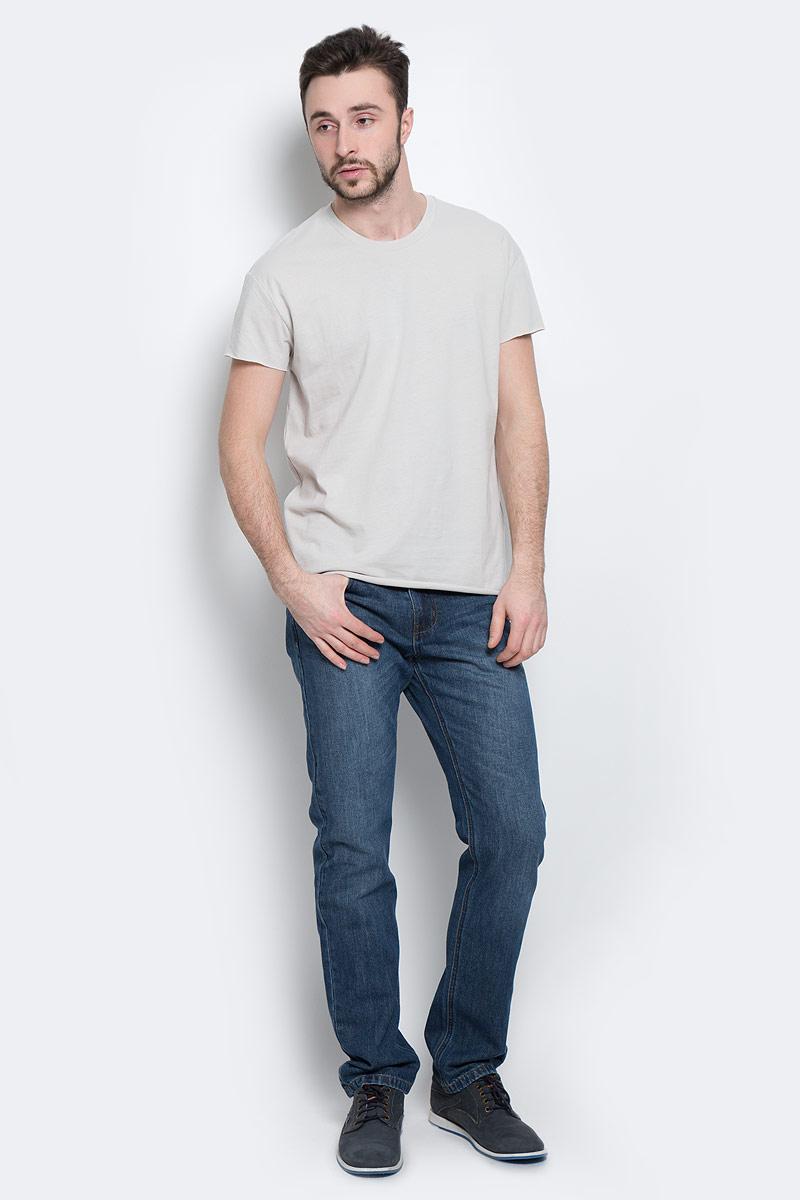 16049961_Blue NightsМужская футболка Selected Homme с короткими рукавами и круглым вырезом горловины выполнена из натурального хлопка. Низ и края рукавов изделия имеют необработанные края