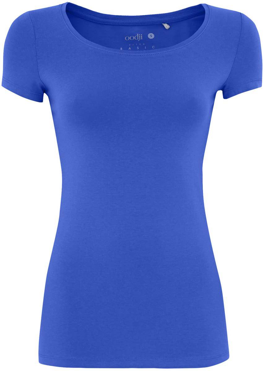 Футболка14701005/35918/4100NБазовая женская футболка oodji Ultra Basic выполнена из хлопка с добавлением эластана. Модель с круглым вырезом горловины и короткими стандартными рукавами.