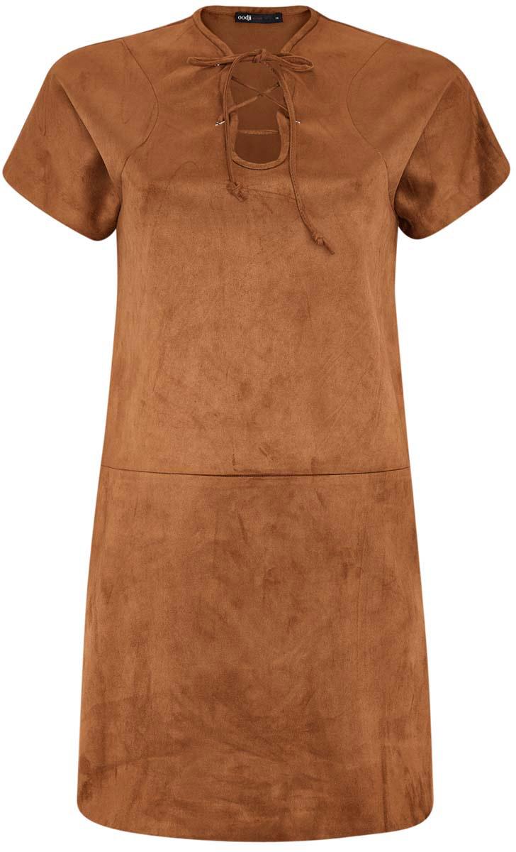 Платье18L00001/45778/3100NОригинальное платье прямого кроя oodji Ultra выполнено из мягкой искусственной замши. Модель мини-длины с короткими рукавами имеет фигурный вырез горловины, дополненный шнуровкой.