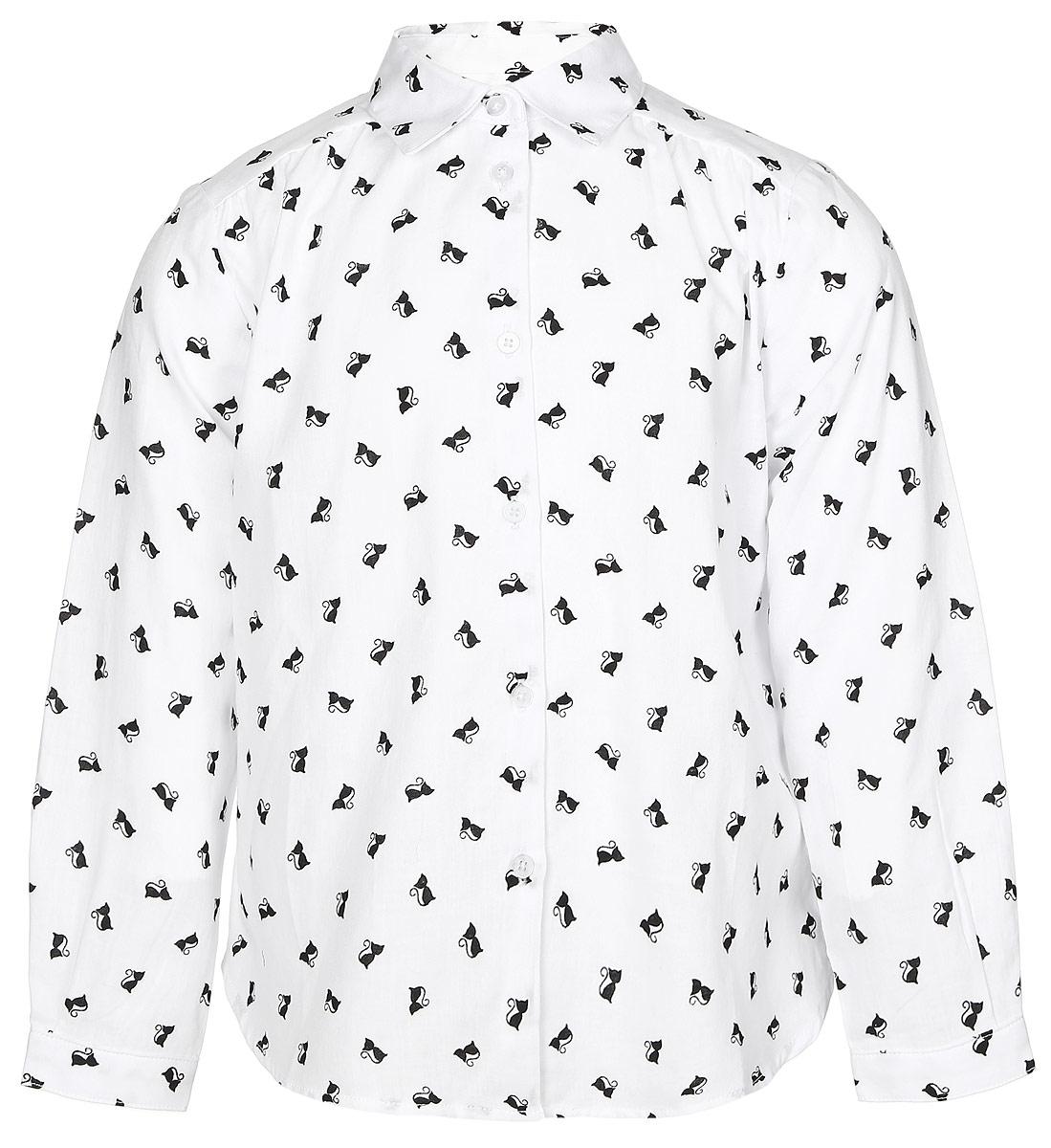 216BBGC22010207Стильная рубашка Button Blue выполнена из 100% хлопка. Модель свободного трапециевидного кроя с длинными рукавами и отложным воротником застегивается на пуговицы по всей длине и оформлена оригинальным принтом с изображением кошек. На манжетах предусмотрены застежки-пуговицы. Спинка немного удлинена.
