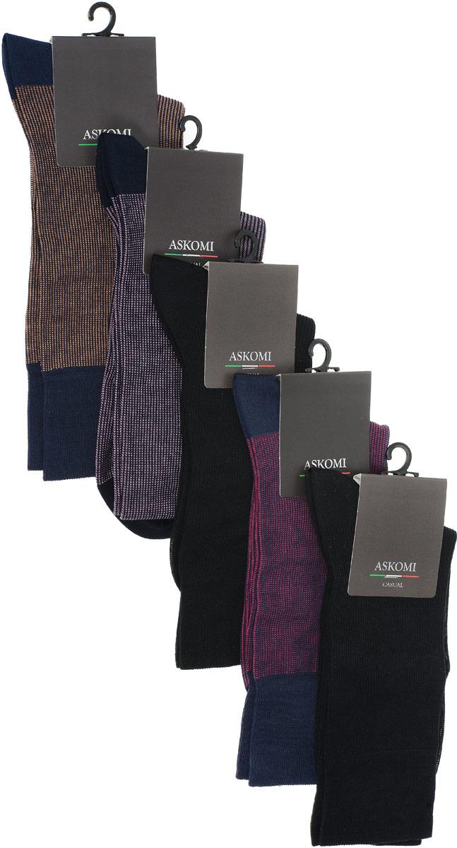 AMN-7700Стильный подарочный набор Askomi Classic для самых смелых. Включает 5 пар носков разных цветов. Носки выполнены из мерсеризованного хлопка с добавлением полиамида.