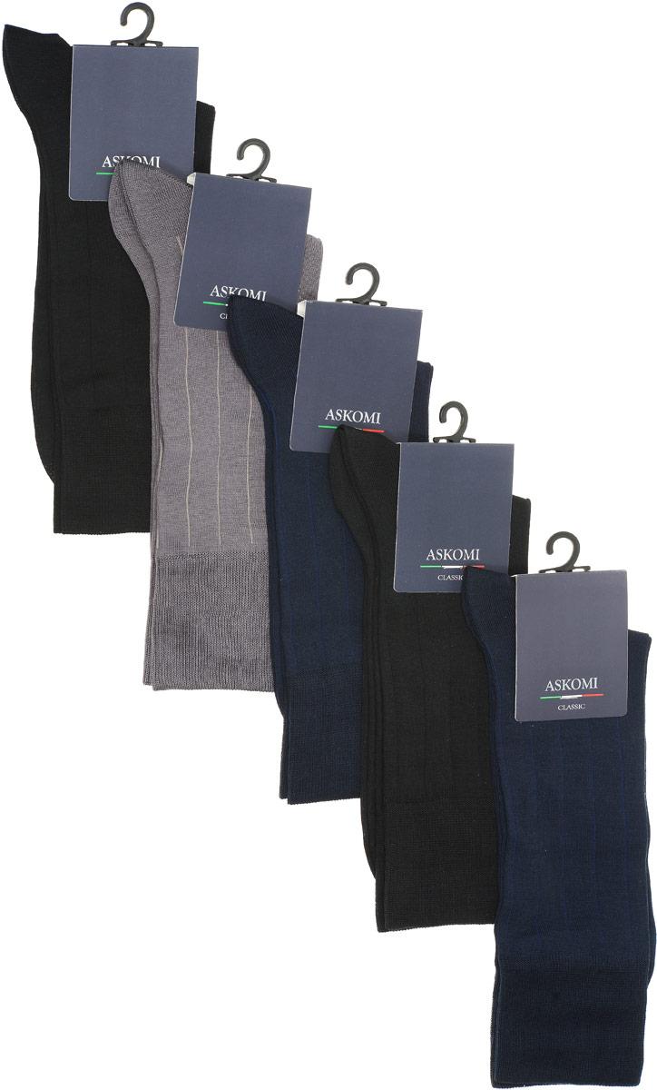 НоскиAMN-7119Стильный подарочный набор Askomi Classic включает 5 пар носков классических цветов в вертикальную полоску на оттенок светлее. Носки выполнены из мерсеризованного хлопка с добавлением полиамида.
