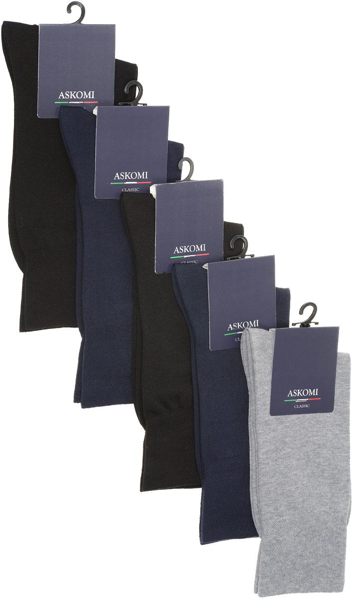 Комплект носковAMN-7900Стильный подарочный набор Askomi Classic включает 5 пар носков классических цветов. Носки, выполненные из хлопка с добавлением полиамида, отличаются идеальной мягкостью.