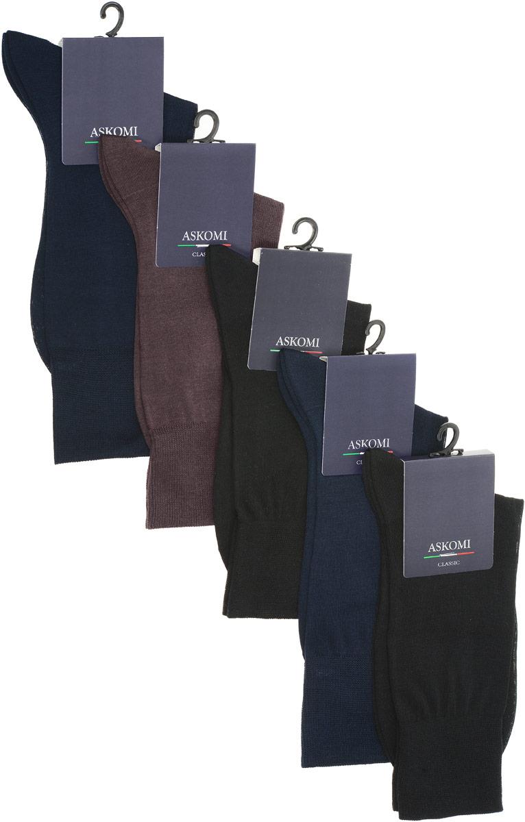 НоскиAMN-7100Стильный подарочный набор Askomi Classic включает 5 пар носков классических цветов. Носки выполнены из мерсеризованного хлопка.