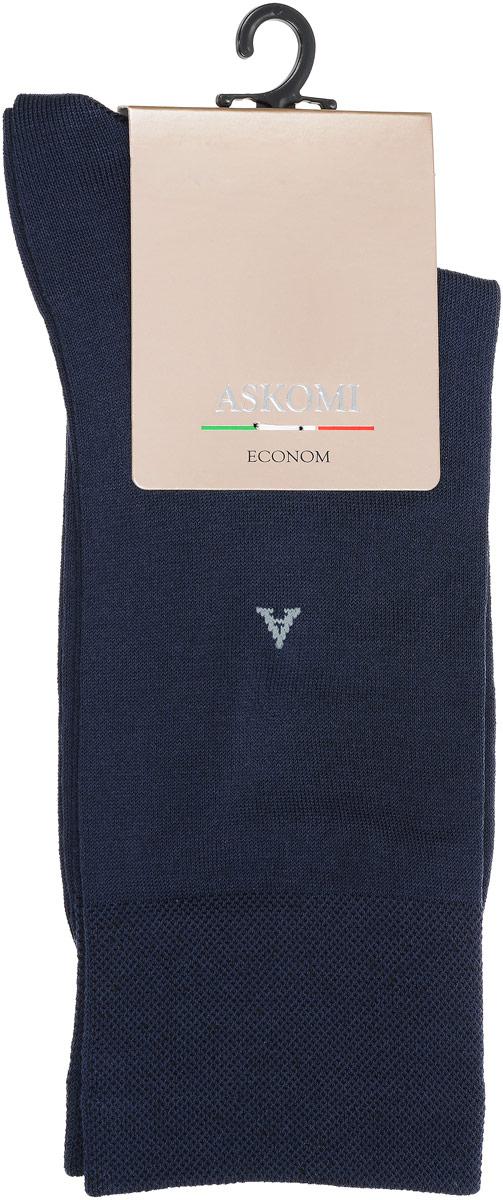 АМ-3500_2404Мужские носки Askomi Econom выполнены из хлопка с добавлением полиамида и эластана, что является оптимальным соотношением волокон. Буква А на паголенке. Дополнены двойным бортом для плотной фиксации, не пережимающим сосуды. Кеттельный шов не ощутим для ноги.