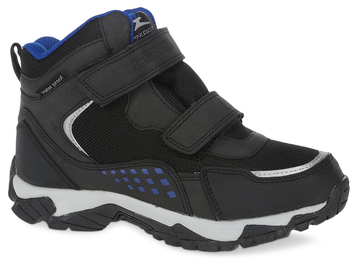 11039-1Ботинки от Зебра выполнены из искусственной кожи и текстиля. Ремешки с застежками-липучками обеспечивают надежную фиксацию изделия на ноге. Внутренняя поверхность и стелька из шерсти сохранят ноги в тепле. Гибкая подошва с рифлением не скользит.