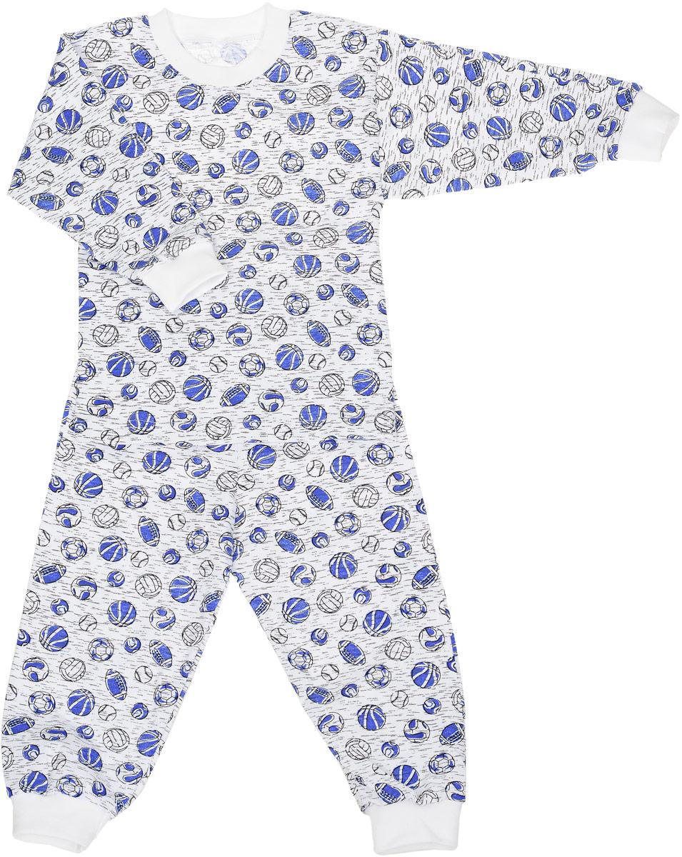 ПЖ1803-10Пижама для мальчика состоящая из футболки с длинным рукавом и брюк выполнена из натурального хлопка. Футболка с длинными рукавами и круглым вырезом горловины. Вырез горловины и рукава дополнены трикотажными резинками. Брюки на талии имеют эластичную резинку, которая не позволяет брюкам сползать, не сдавливая животик ребенка. Низ брючин дополнен широкими эластичными манжетами. Оформлено изделие принтом в виде мячей.