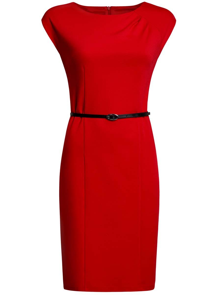 Платье24008306/35477/2900NПриталенное платье oodji Collection, выгодно подчеркивающее достоинства фигуры, выполнено из качественного трикотажа. Модель средней длины с круглым вырезом горловины и короткими рукавами застегивается на скрытую застежку-молнию на спинке. В комплект с платьем входит узкий ремень из искусственной кожи с металлической пряжкой.