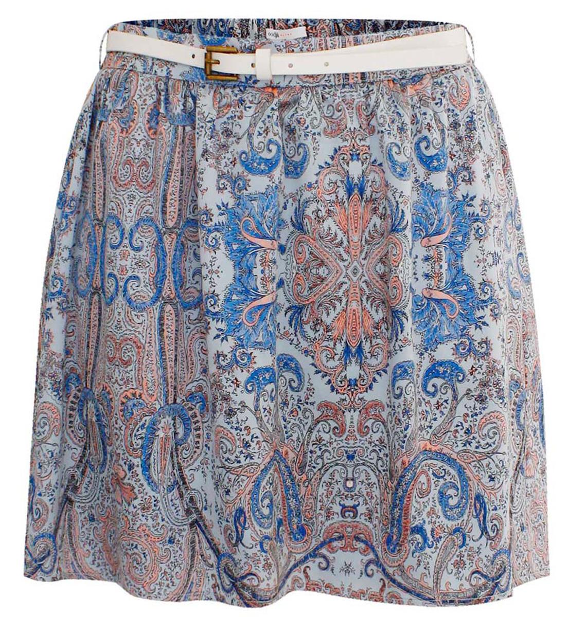 Юбка11606038/35204/704BEЮбка oodji Ultra изготовлена из полиэстера с добавлением эластана. Короткая широкая юбка на талии сзади собрана на внутреннюю резинку. На поясе имеются две шлевки под ремень или пояс.