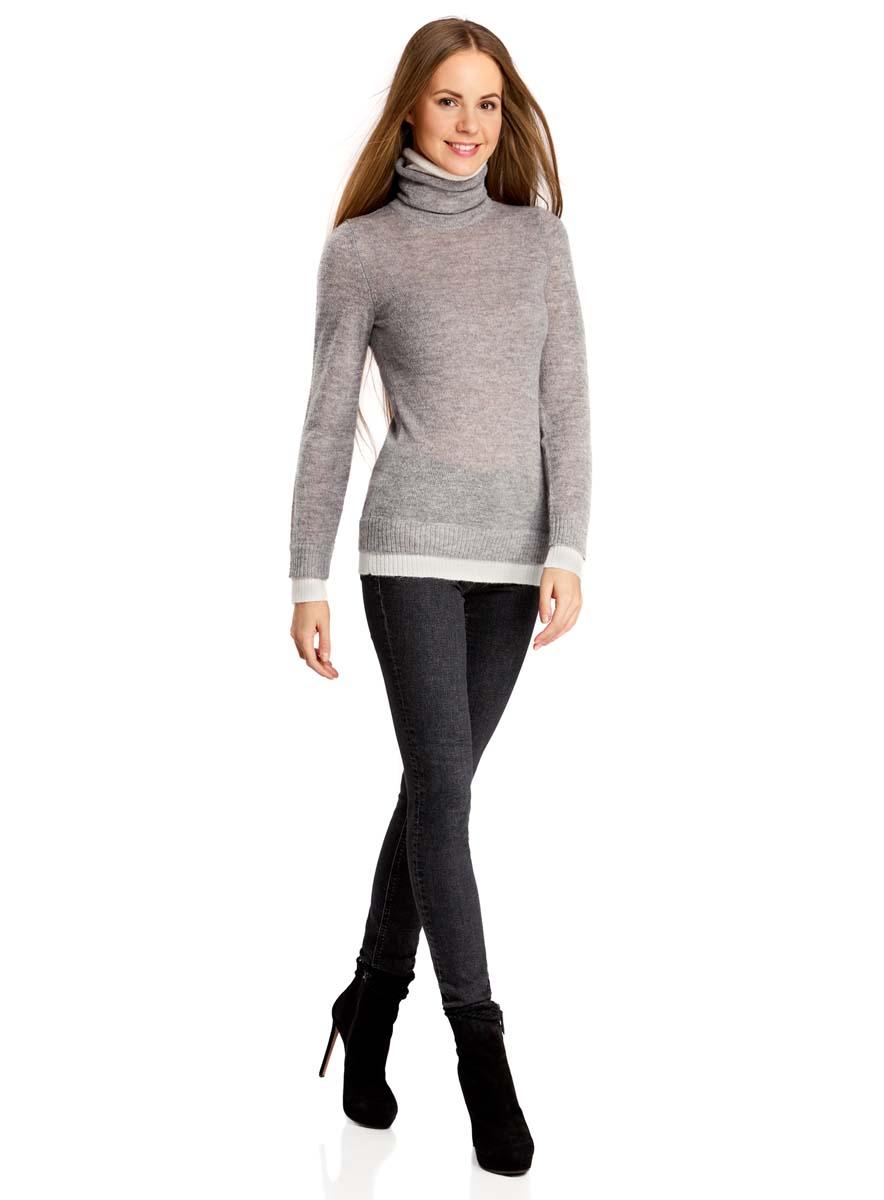 Свитер74412571/43677/2312BЖенский свитер odji Collection изготовлен из качественной смесовой пряжи. Модель оформлена воротником-гольф и длинными рукавами. Воротник, низ рукавов и низ изделия связаны двойной резинкой контрастных цветов.