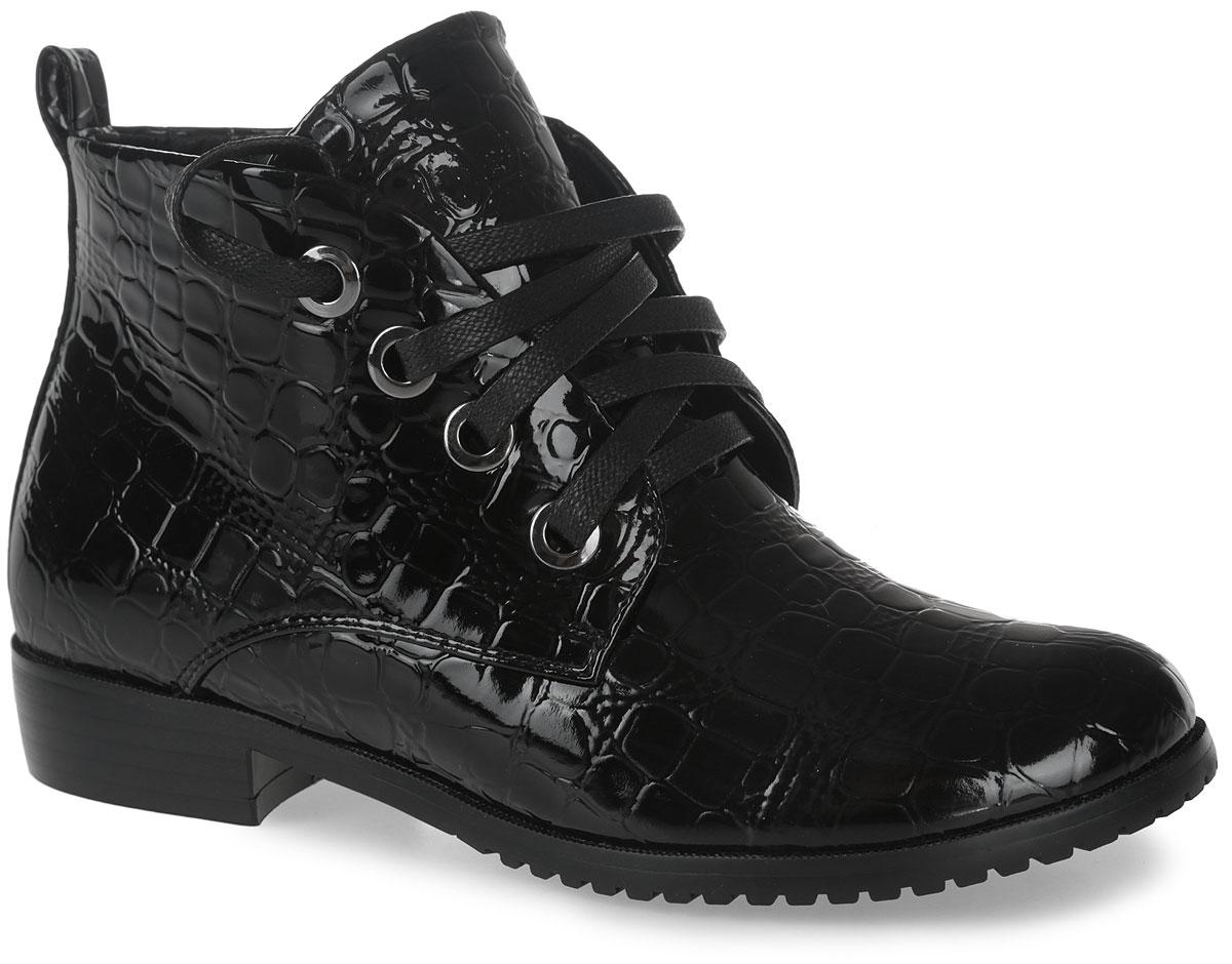 10847-1Модные ботинки от Зебра выполнены из искусственной кожи. Шнуровка надежно зафиксирует модель на ноге. Боковая застежка-молния позволяет легко снимать и надевать модель. Подкладка и стелька из текстиля. Подошва дополнена рифлением.