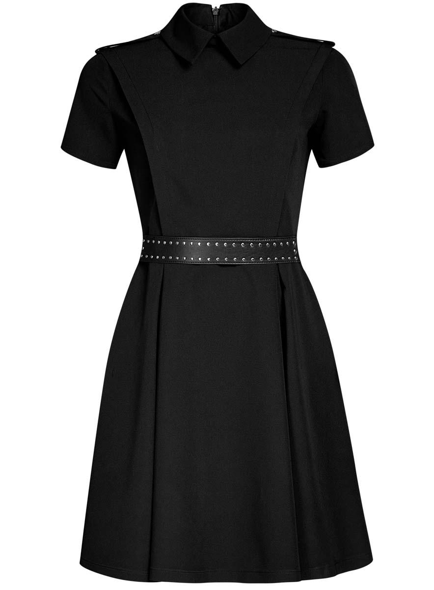 Платье11910088/38253/2900NСтильное платье oodji Ultra с пышной расклешенной юбкой - модное решение на каждый день. Модель средней длины с короткими рукавами и воротничком-стойкой выполнена из качественного плотного материала. Платье дополнено погонами и застегивается на скрытую молнию на спинке. В комплект с платьем входит широкий ремень из трикотажной резинки и искусственной кожи с металлическими клепками.