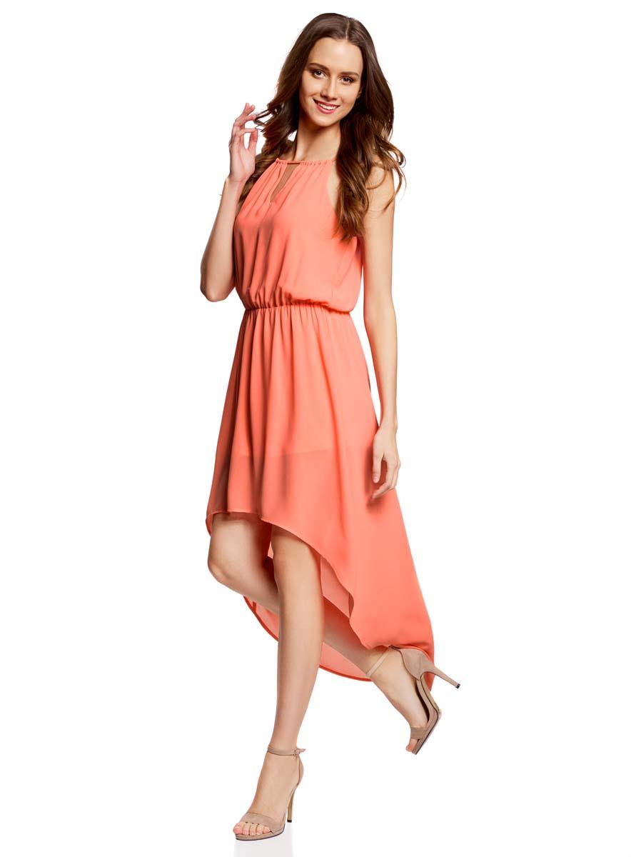 Платье11910064-3B/35271/4300NСтильное платье oodji Ultra изготовлено из тонкого полиэстера. У модели круглый вырез и небольшие разрезы под линией горловины спереди и сзади. Разрез сзади оснащен завязками. Талия собрана на внутреннюю резинку. У модели короткая нижняя юбка и прозрачный асимметричный подол.