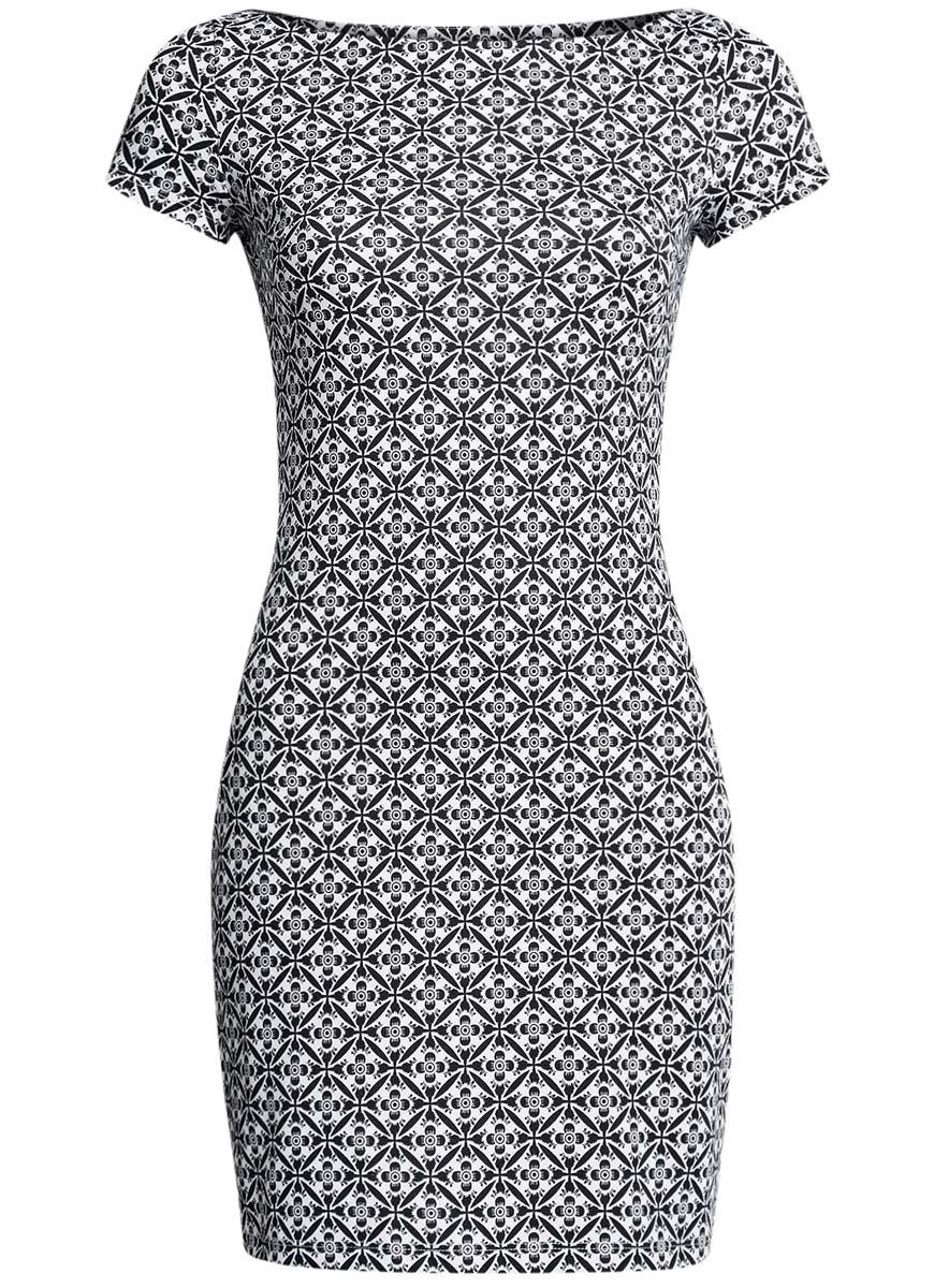 Платье14001117-3B/16564/1029OЛаконичное облегающее платье oodji Ultra выполнено из качественного трикотажа и оформлено оригинальным принтом. Модель мини-длины с вырезом-лодочкой и короткими рукавами выгодно подчеркивает достоинства фигуры.