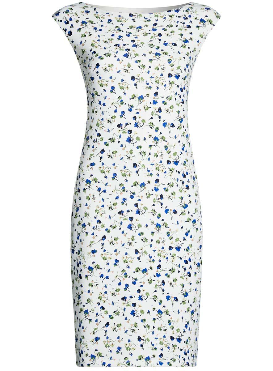 14001170-1/45344/1275FПлатье oodji Ultra выполнено из полиэстера и эластана. Модель миди оформлена оригинальным цветочным принтом. Платье с вырезом горловины лодочкой не имеет рукавов.