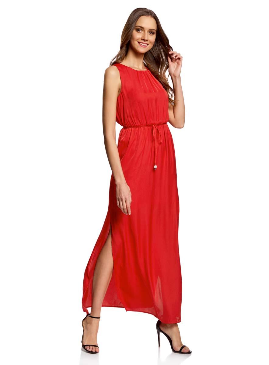 Платье21900323/42873/2520AСтильное платье oodji Collection полностью выполнено из полиэстера. Модель с круглым вырезом горловины, застегивающимся сзади на пуговицу и без рукавов. На поясе имеются затягивающиеся шнурки. По бокам изделия расположены карманы.