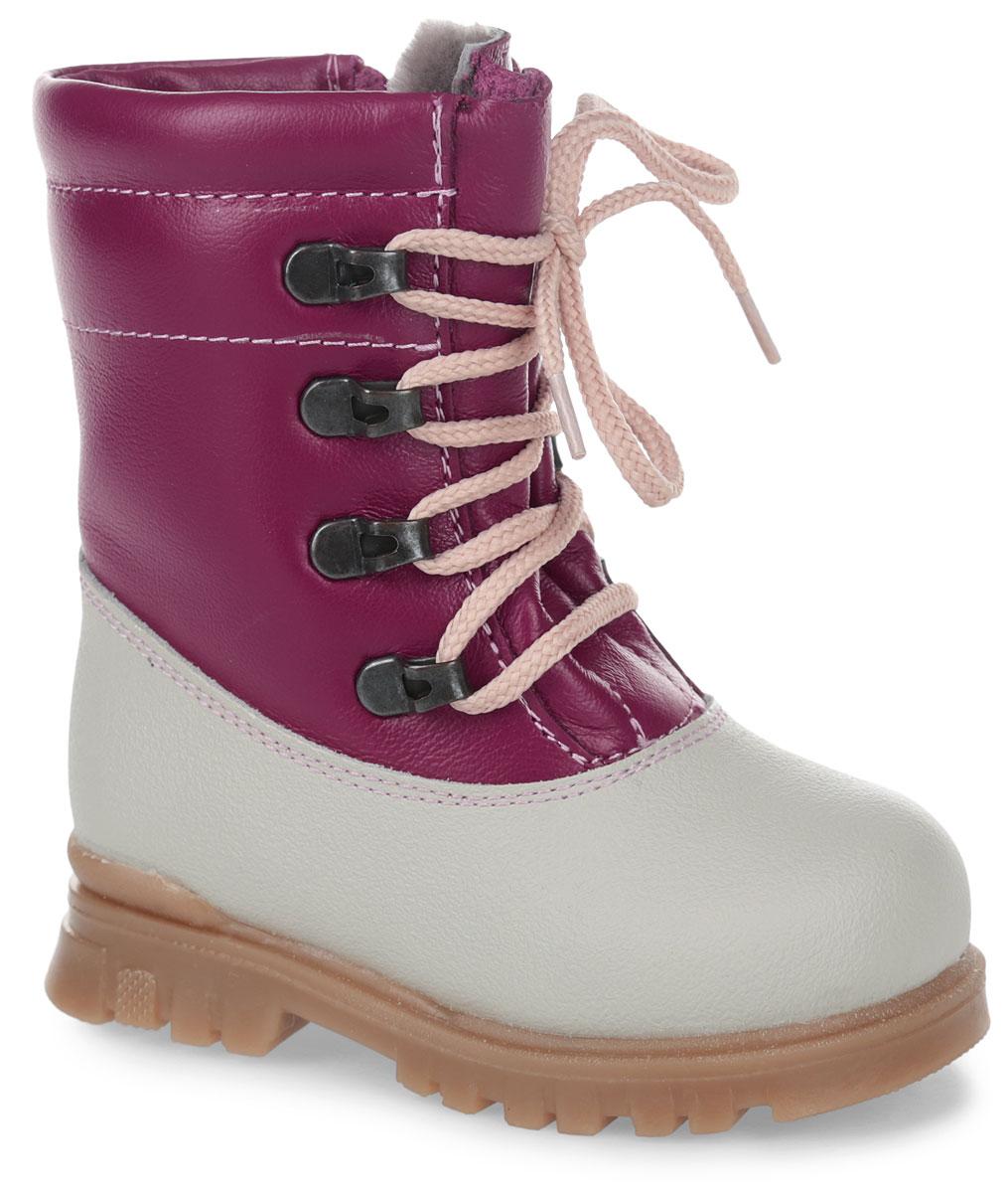 11185-9Модные ботинки от Зебра заинтересуют вашу девочку с первого взгляда! Модель выполнена из натуральной кожи. Шнуровка надежно зафиксирует модель на ноге. Боковая застежка-молния позволяет легко снимать и надевать модель. Подкладка и стелька из натурального меха не дадут ногам замерзнуть. Подошва дополнена рифлением.