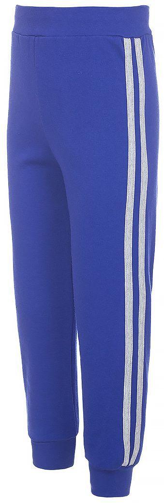Брюки спортивныеБ191009Детские спортивные брюки M&D изготовлены из натурального хлопка. Брюки на талии имеют широкую эластичную резинку, по бокам - лампасы контрастного цвета. Нижняя часть штанин дополнена трикотажными резинками.