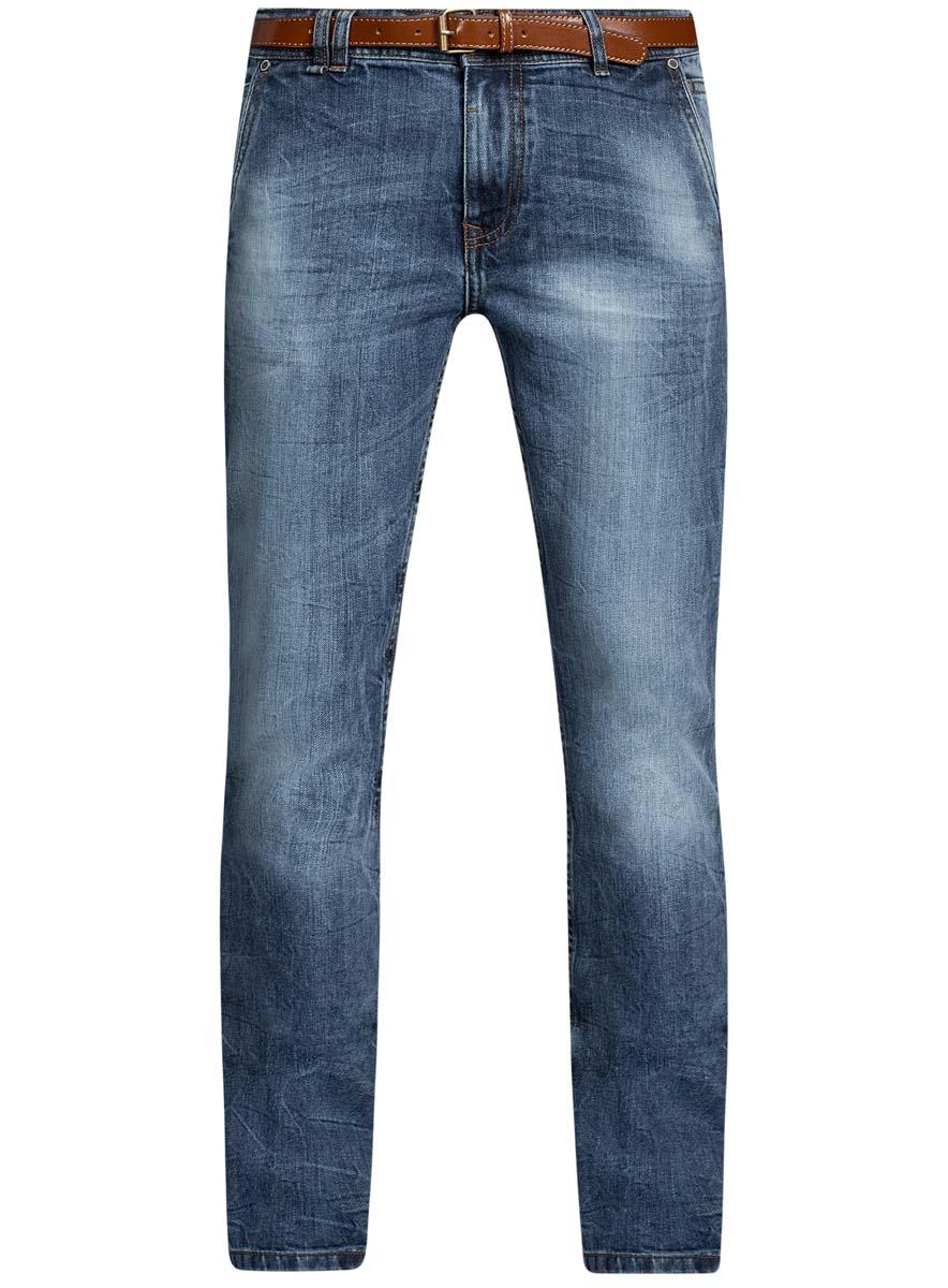 Джинсы6L100018M/46627/7500WМужские джинсы oodji Basic выполнены из высококачественного материала. Модель-слим средней посадки по поясу застегивается на пуговицу и имеют ширинку на застежке-молнии, а также шлевки для ремня. Джинсы имеют спереди - два втачных кармана с косыми срезами и один маленький накладной, сзади - два втачных кармана.