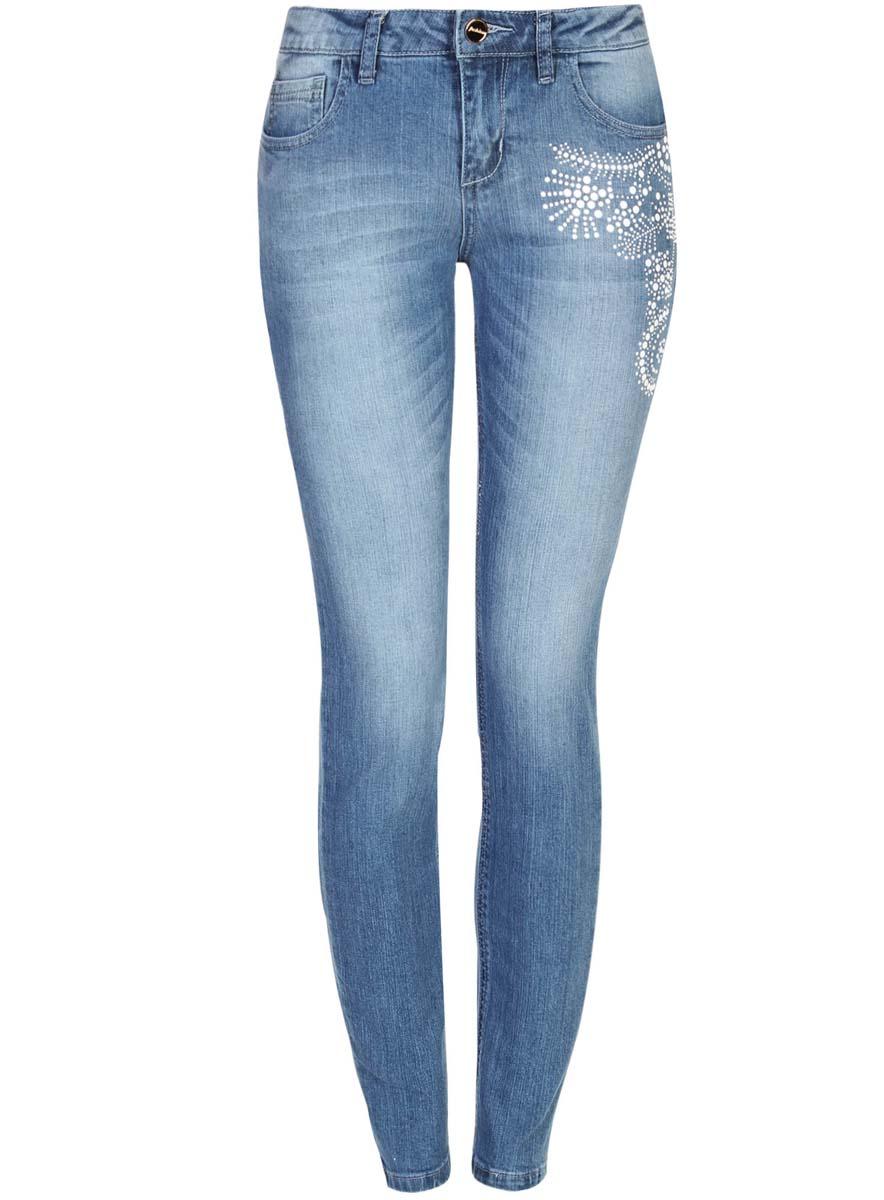 Джинсы12103133/45369/7512PЖенские джинсы oodji Ultra выполнены из высококачественного материала. Модель-скинни средней посадки по поясу застегиваются на пуговицу и имеют ширинку на застежке-молнии, а также шлевки для ремня. Джинсы имеют классический пятикарманный крой: спереди - два втачных кармана и один маленький накладной, а сзади - два накладных кармана. Модель на бедре оформлена декором.