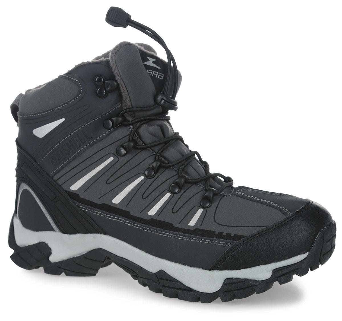 10990-1Ботинки для мальчика Зебра выполнены из мембранных материалов. Шнуровка надежно фиксирует изделие на ноге. Подкладка и стелька из шерсти обеспечивают тепло, циркуляцию воздуха и сохраняют комфортный микроклимат в обуви. Гибкая подошва с рифлением не скользит.