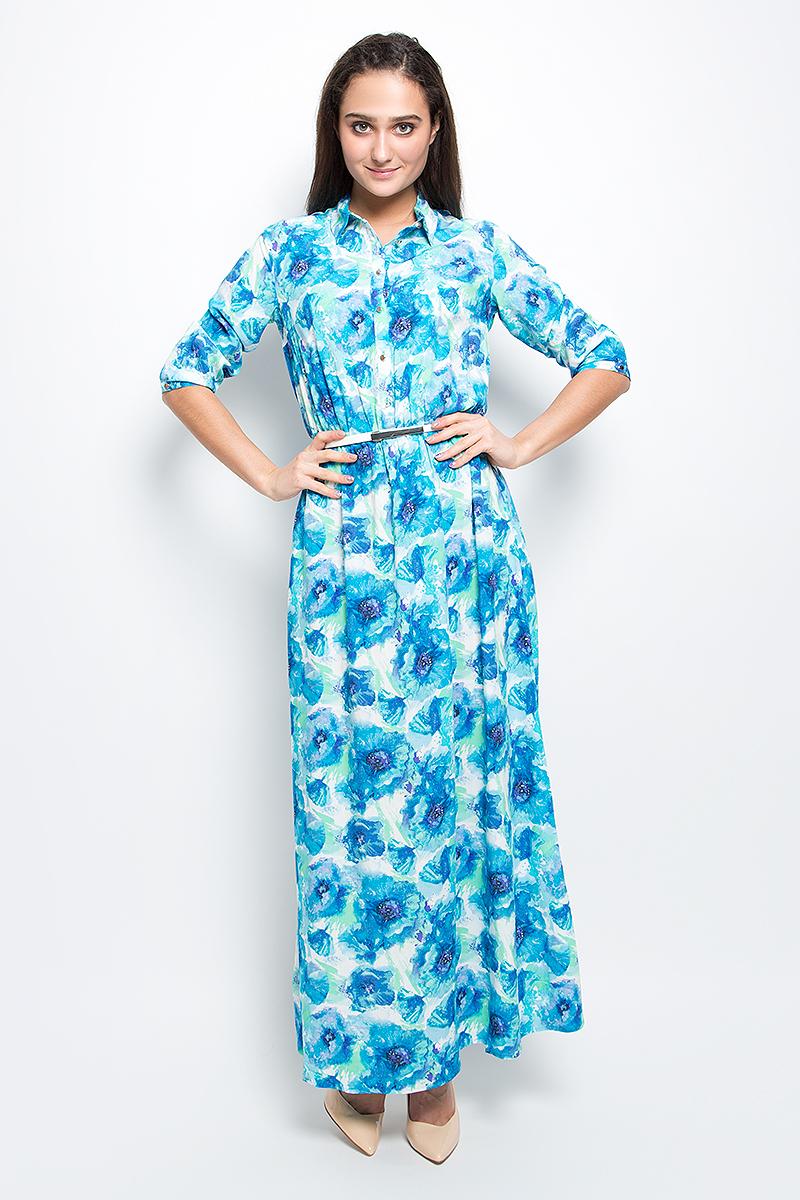 ПлатьеB17-11072_139Красивое платье Finn Flare изготовлено из 100% вискозы. Модель с отложным воротником и рукавами 3/4 на талии дополнена эластичной резинкой. Изделие застегивается на пуговицы и дополнено поясом. Оформлена модель цветочным принтом.