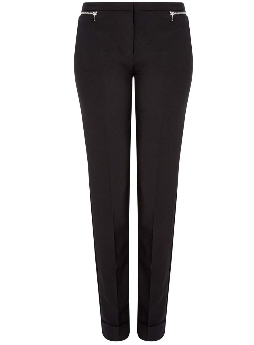 Брюки11701033-3/45660/5700NСтильные женские брюки oodji Ultra изготовлены из качественного комбинированного материала. Модель-слим со стандартной посадкой выполнена в лаконичном стиле и по низу брючин оформлена стильными манжетами. Застегиваются брюки на застежку-молнию, потайную пуговицу и металлический крючок в поясе. Спереди изделие оформлено двумя втачными карманами и декоративными молниями, а сзади двумя карманами-обманками.