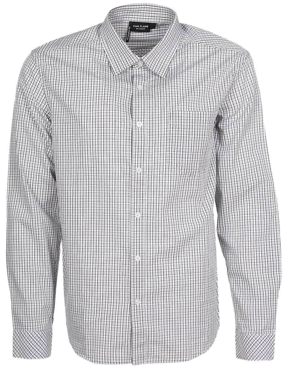РубашкаB17-21010_202Мужская рубашка Finn Flare выполнена из натурального хлопка. Рубашка с длинными рукавами и отложным воротником застегивается на пуговицы спереди. Манжеты рукавов также застегиваются на пуговицы. Рубашка оформлена принтом в клетку. На груди расположен накладной карман.
