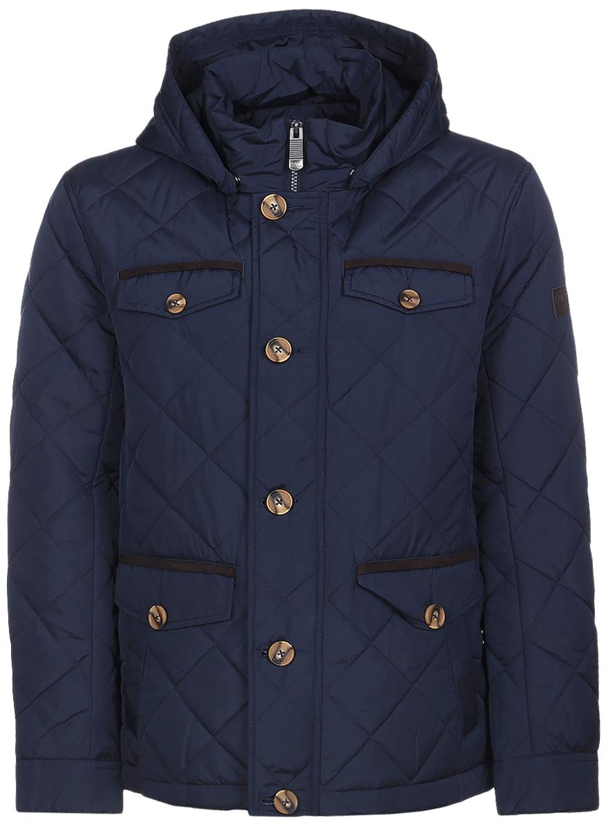 КурткаB17-22033_101Мужская куртка Finn Flare с длинными рукавами, воротником-стойкой и съемным капюшоном на кнопках выполнена из полиэстера. Наполнитель - синтепон. Капюшон дополнен шнурком-кулиской со стопперами. Куртка застегивается на застежку-молнию спереди и имеет ветрозащитный клапан на пуговицах. Изделие оснащено четырьмя втачными карманами с клапанами на пуговицах и двумя втачными карманами на кнопках спереди, внутренним втачным карманом на застежке-молнии, внутренним накладным карманом на липучке и накладным карманом на пуговице. Манжеты рукавов застегиваются на пуговицы.