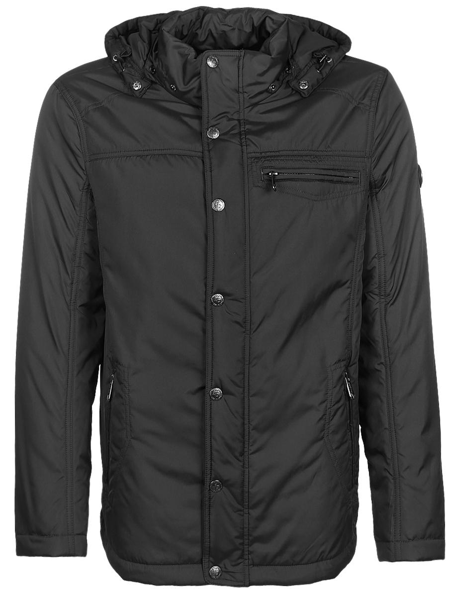 КурткаB17-21003_601Мужская куртка Finn Flare с длинными рукавами, воротником-стойкой и съемным капюшоном на кнопках выполнена из полиэстера. Наполнитель - синтепон. Капюшон дополнен шнурком-кулиской со стопперами. Куртка застегивается на застежку-молнию спереди и имеет ветрозащитный клапан на кнопках. Изделие оснащено тремя втачными карманами на застежках-молниях, внутренним втачным карманом на застежке-молнии и двумя внутренними карманами на пуговицах. Объем низа куртки регулируется при помощи шнурка-кулиски со стопперами.