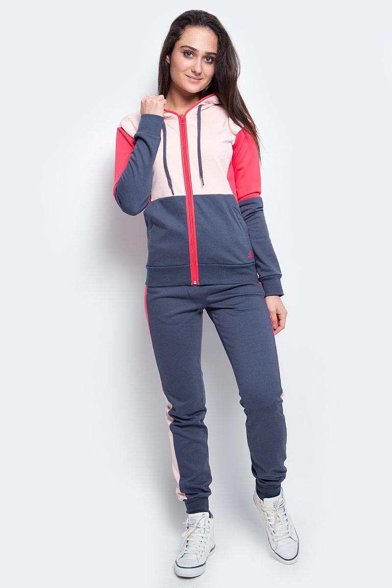 AY1781Женский спортивный костюм выполнен в стиле adidas и дополнен современными элементами. Облегающий крой и яркие цветные вставки. Мягкий футер обеспечивает комфорт. Регулируемый капюшон на толстовке предоставляет дополнительную защиту. Ткань с технологией climalite быстро и эффективно отводит влагу с поверхности кожи, поддерживая комфортный микроклимат. Толстовка: застежка на молнию, капюшон на регулируемых завязках-шнурках, рифленые манжеты и нижний край. Брюки: эластичный пояс на регулируемых завязках-шнурках, рифленые манжеты, слегка заниженный шаговый шов. Облегающий крой.