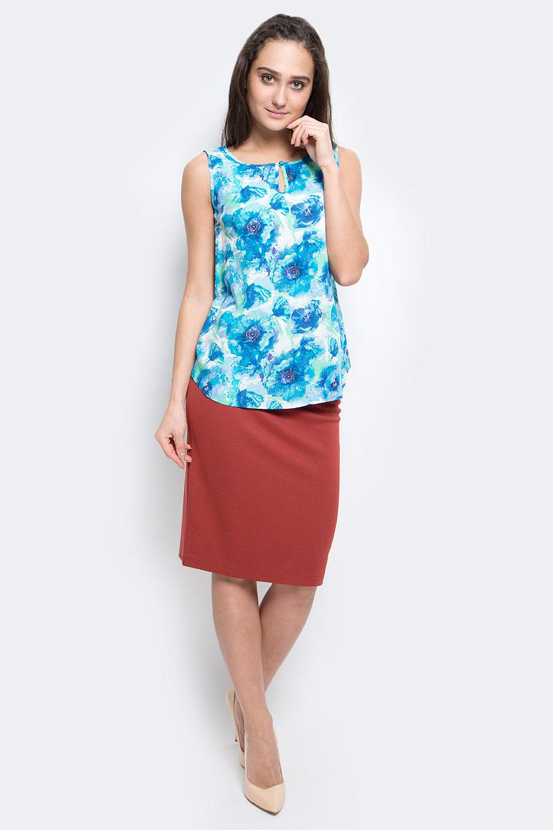 БлузкаB17-11093_139Стильная блузка Finn Flare выполнена из 100% вискозы. Модель с круглым вырезом горловины и без рукавов. Спереди изделие застегивается петлей на пуговицу. Модель оформлена цветочным принтом.