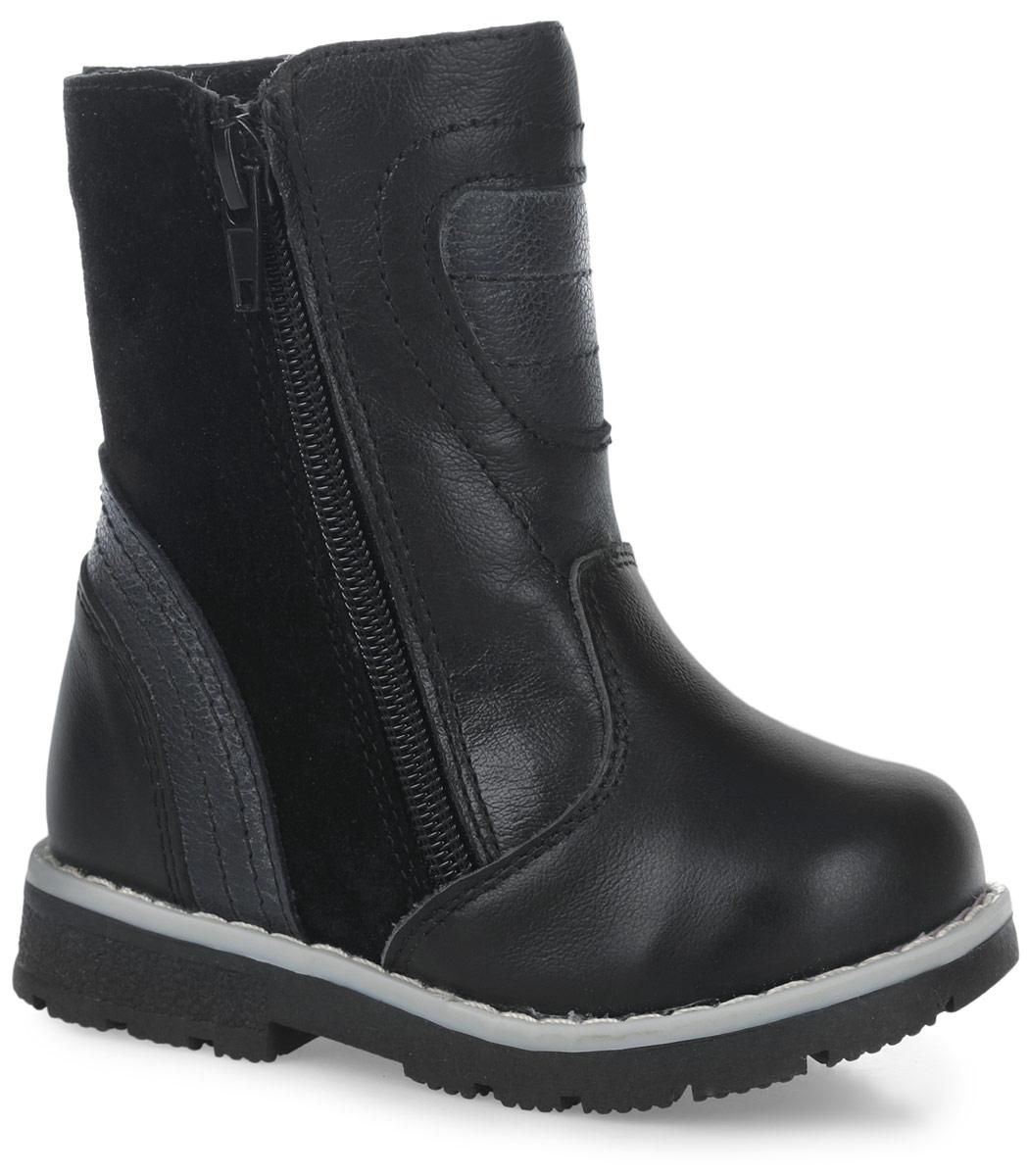 11193-1Теплые полусапоги от Зебра выполнены из натуральной кожи в сочетании с натуральной замшей. Застежка-молния надежно фиксирует изделие на ноге. Мягкая подкладка и стелька из натурального меха обеспечивают тепло, циркуляцию воздуха и сохраняют комфортный микроклимат в обуви. Подошва с рифлением гарантирует идеальное сцепление с любыми поверхностями. Сбоку модель оформлена декоративной молнией.
