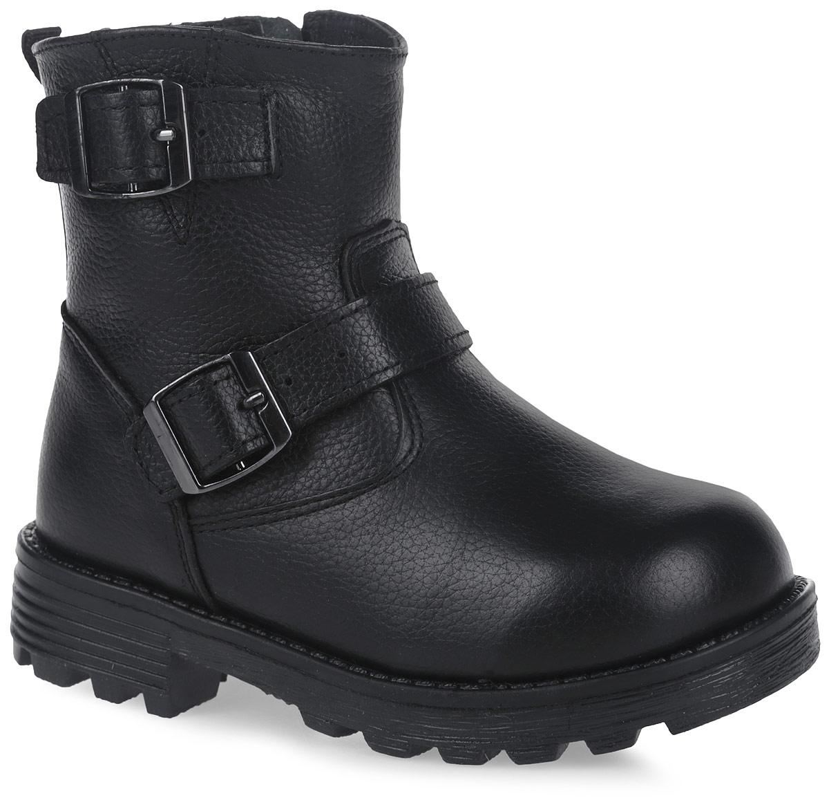 11201-1Полусапоги от Зебра выполнены из натуральной кожи и оформлены декоративными ремешками. Застежка-молния надежно фиксирует изделие на ноге. Мягкая подкладка и стелька из натурального меха обеспечивают тепло, циркуляцию воздуха и сохраняют комфортный микроклимат в обуви.
