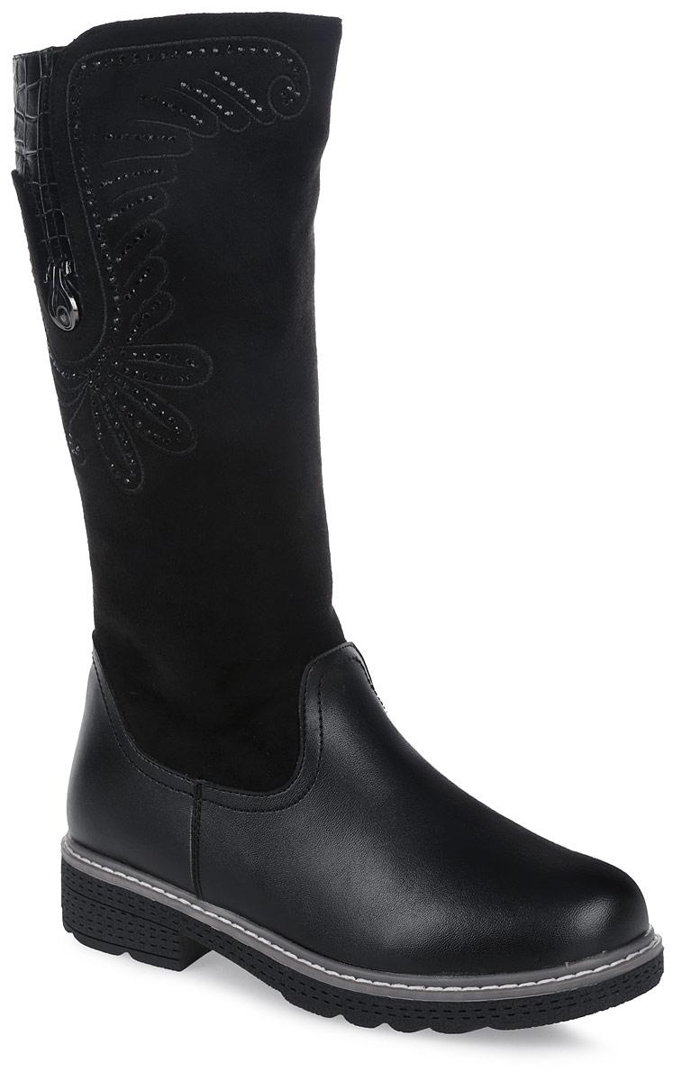 11126-1Удобные и теплые сапоги от Зебра выполнены из искусственной кожи в сочетании с замшей. Застежка-молния надежно фиксирует изделие на ноге. Мягкая подкладка и стелька из шерсти обеспечивают тепло, циркуляцию воздуха и сохраняют комфортный микроклимат в обуви. Модель украшена стразами.