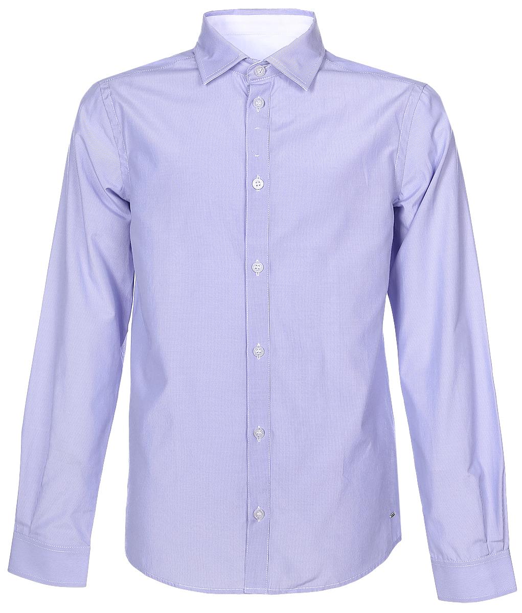 SSFSB-629-13831-334Стильная рубашка Silver Spoon станет отличным дополнением к школьному гардеробу вашего мальчика. Модель, выполненная из хлопка с добавлением полиэстера, необычайно мягкая и приятная на ощупь, не сковывает движения и позволяет коже дышать. Рубашка классического кроя с длинными рукавами и отложным воротником застегивается на пуговицы по всей длине. На манжетах предусмотрены застежки-пуговицы. Модель оформлена принтом в мелкую полоску.