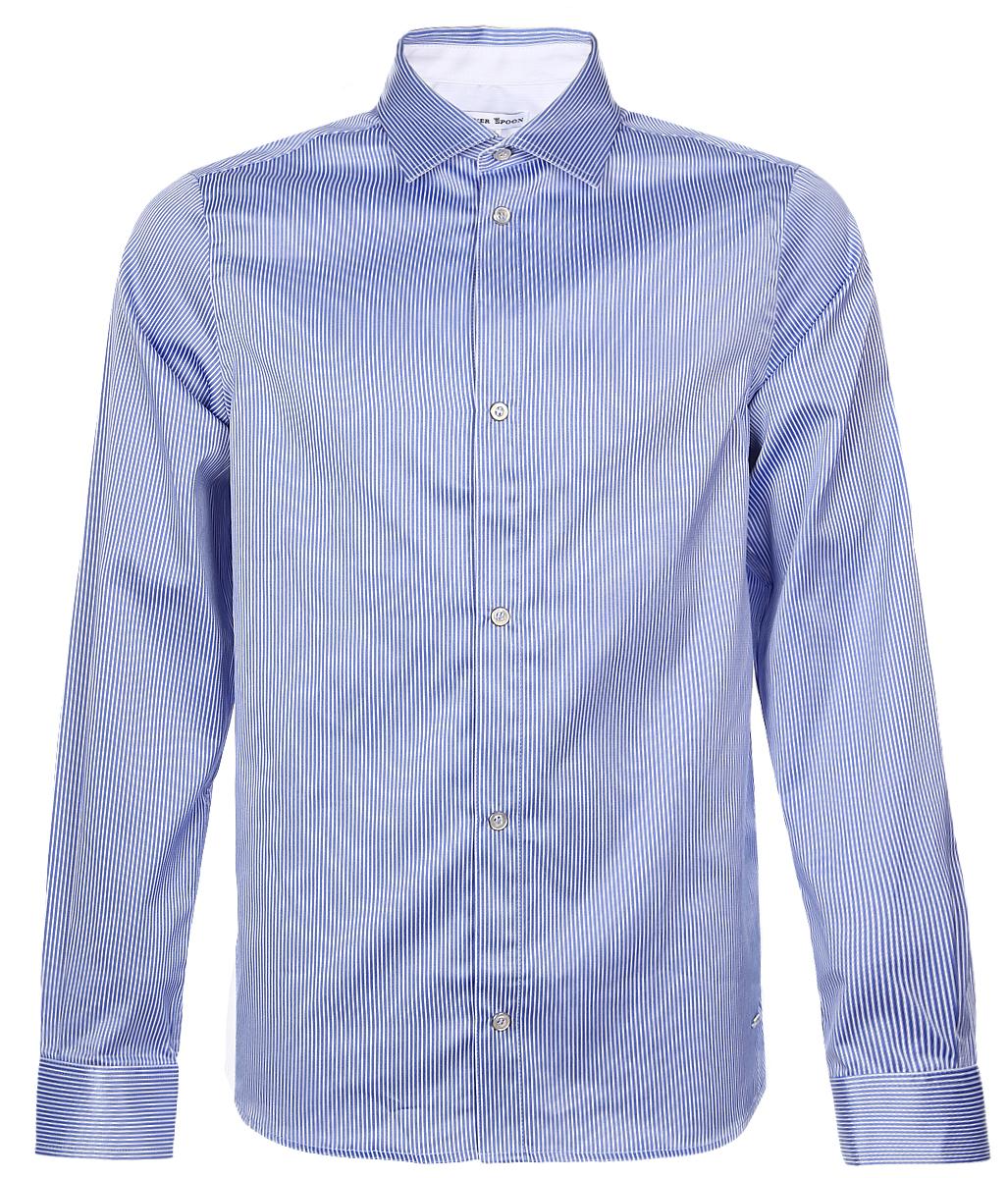 РубашкаSSFSB-629-13831-314Стильная рубашка Silver Spoon станет отличным дополнением к школьному гардеробу вашего мальчика. Модель, выполненная из хлопка с добавлением полиэстера, необычайно мягкая и приятная на ощупь, не сковывает движения и позволяет коже дышать. Рубашка классического кроя с длинными рукавами и отложным воротником застегивается на пуговицы по всей длине. На манжетах предусмотрены застежки-пуговицы. Модель оформлена принтом в полоску.