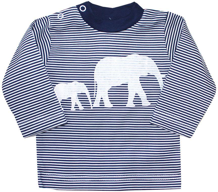 Футболка с длинным рукавом7977Комфортная детская футболка с длинным рукавом КотМарКот Африка изготовлена из натурального хлопка. Модель с длинными рукавами и круглым вырезом горловины застегивается на плечике на две кнопки. Ворот выполнен из мягкой трикотажной резинки. Оформлено изделие интересным принтом в полоску с изображением слонов.