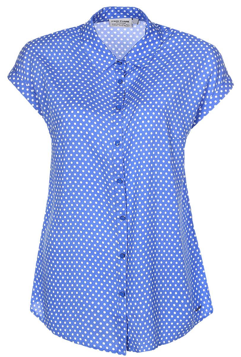 B17-11081_139Женская блуза Finn Flare с короткими цельнокроеными рукавами и отложным воротником выполнена из натуральной вискозы. Блузка застегивается на пуговицы спереди. Модель декорирована принтом в горох.