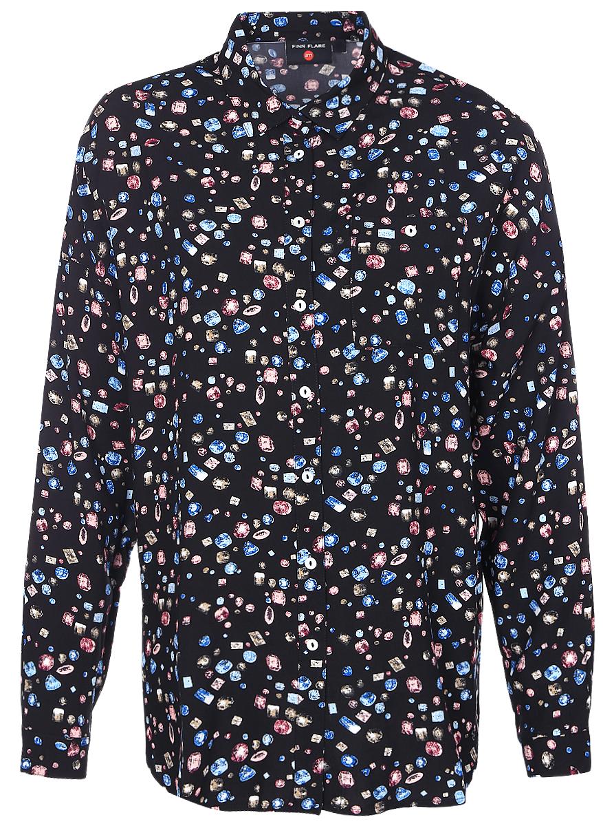 БлузкаB17-32014_200Стильная женская блузка Finn Flare выполнена из 100% вискозы. Блузка свободного кроя с длинными рукавами и отложным воротником. Изделие застегивается на пуговицы, манжеты рукавов также дополнены пуговицами. Оформлена модель оригинальным принтом.