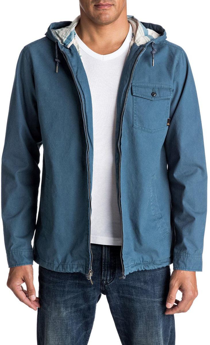 КурткаEQYJK03287-BQK0Мужская куртка для Quiksilver выполнена из качественного хлопка. Модель с длинными рукавами и капюшоном застегивается на застежку-молнию. Изделие дополнено карманами.