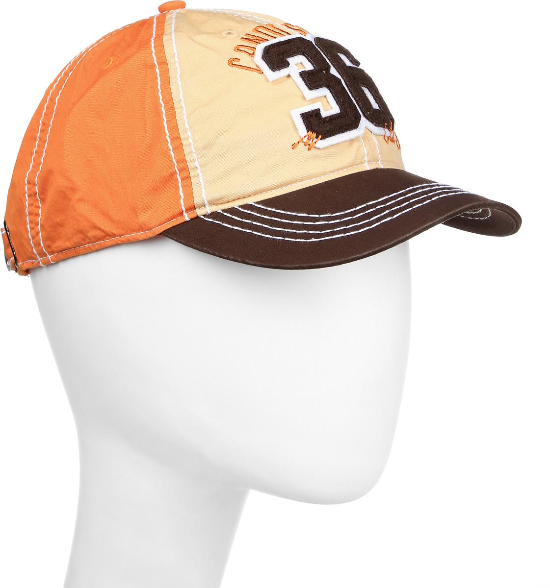 Бейсболка1962793Практичная и стильная мужская бейсболка Canoe Eol, выполненная из высококачественного хлопка, идеально подойдет для активного отдыха и обеспечит надежную защиту головы от солнца. Она имеет перфорацию, обеспечивающую необходимую вентиляцию. Спереди бейсболка оформлена нашивкой из мягкого текстильного материала в виде цифр 36 и надписью Canoe Sport. Бейсболка украшена декоративной отстрочкой и вставками контрастного цвета. Объем изделия регулируется ремешком на удобной стальной защелке, украшенной декоративными вырубками. Такая бейсболка станет отличным аксессуаром для занятий спортом или дополнит ваш повседневный образ.