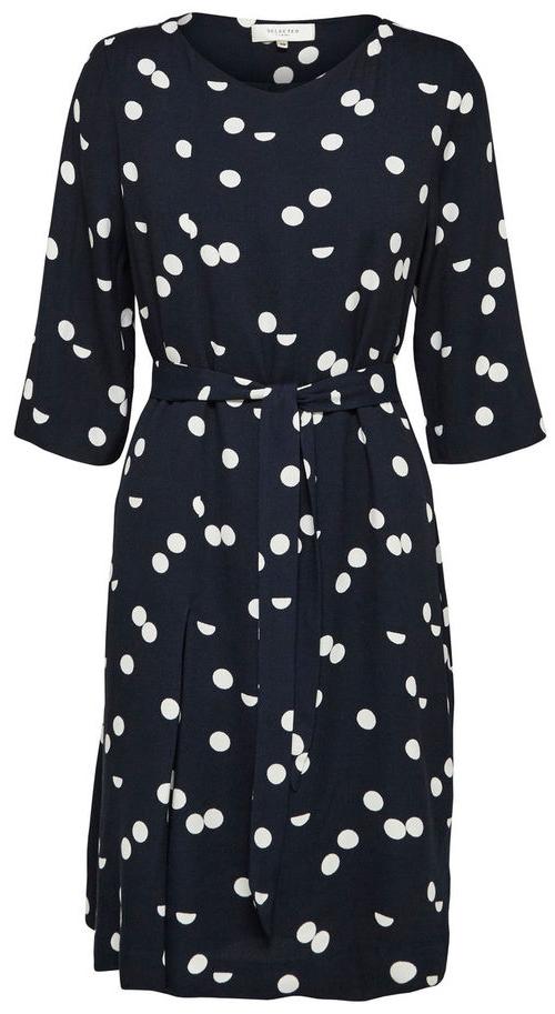 16053623_Dark SapphireСтильное платье Selected Femme выполнено из 100% вискозы, подкладка из 100% полиэстера. Модель с короткими рукавами и V-образным вырезом горловины. Модель дополнена съемным поясом.