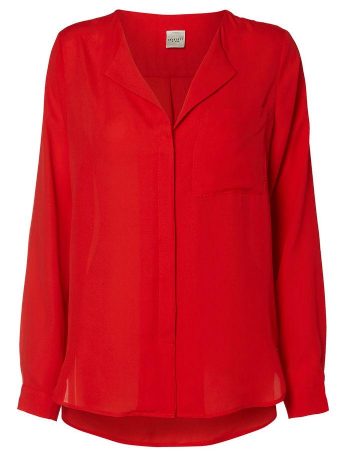 Блузка16031781_Flame ScarletСтильная женская блузка выполнена из 100% полиэстера. Модель с V-обрызным вырезом горловины и длинными рукавами спереди застегивается на пуговицы, скрытые планкой. Блузка с удлиненной спинкой на груди дополнена накладным карманом.