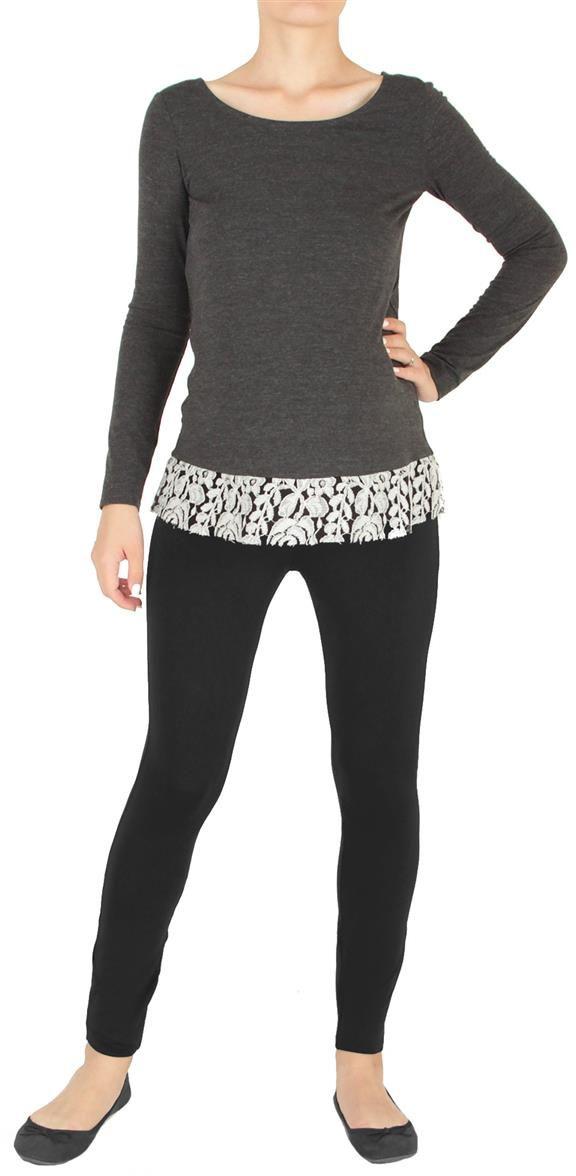 3502352171Легкая блузка с утонченным кружевом по низу